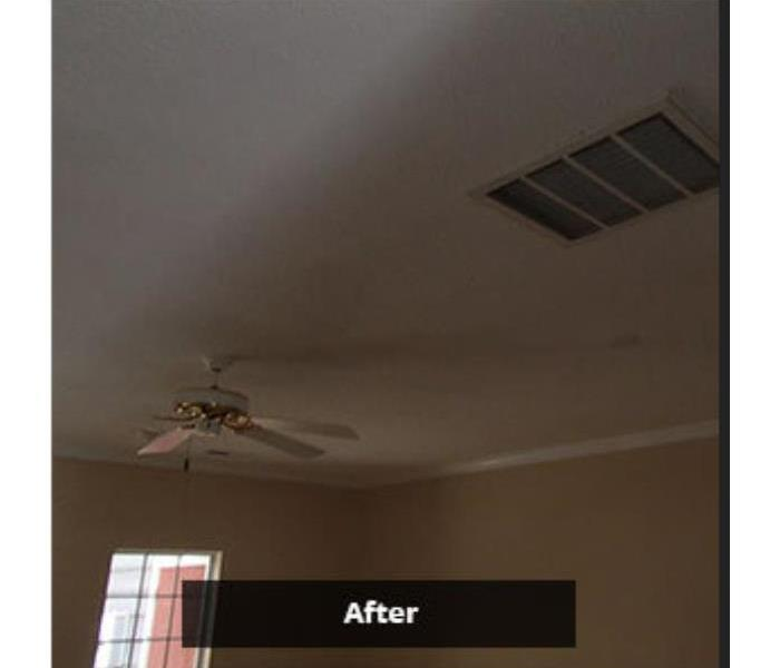 living area ceiling repaired from water damage
